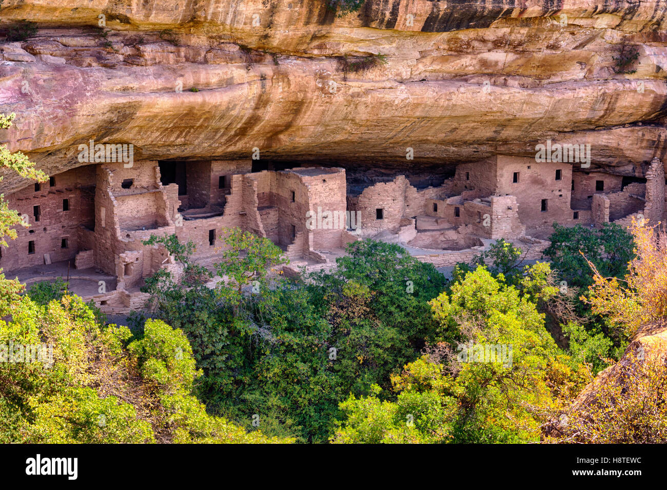 Mesa Verde National Park Colorado USA. Puebloan dwellings in cliff face. - Stock Image