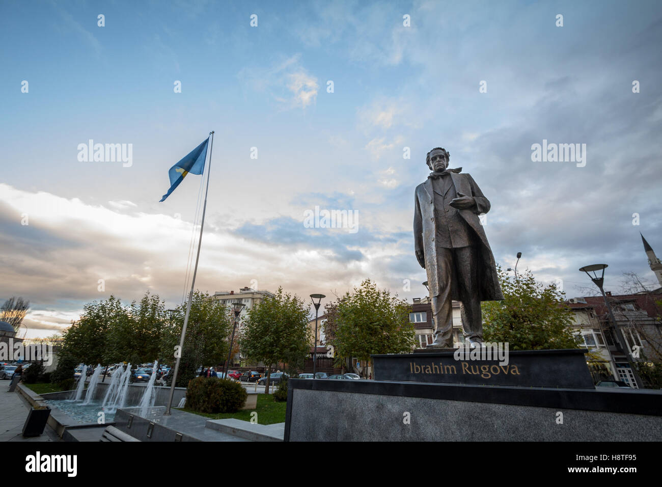 Statue dedicated to Ibrahim Rugova, first president of the Republic of Kosovo in Pristina, capital city of the country - Stock Image