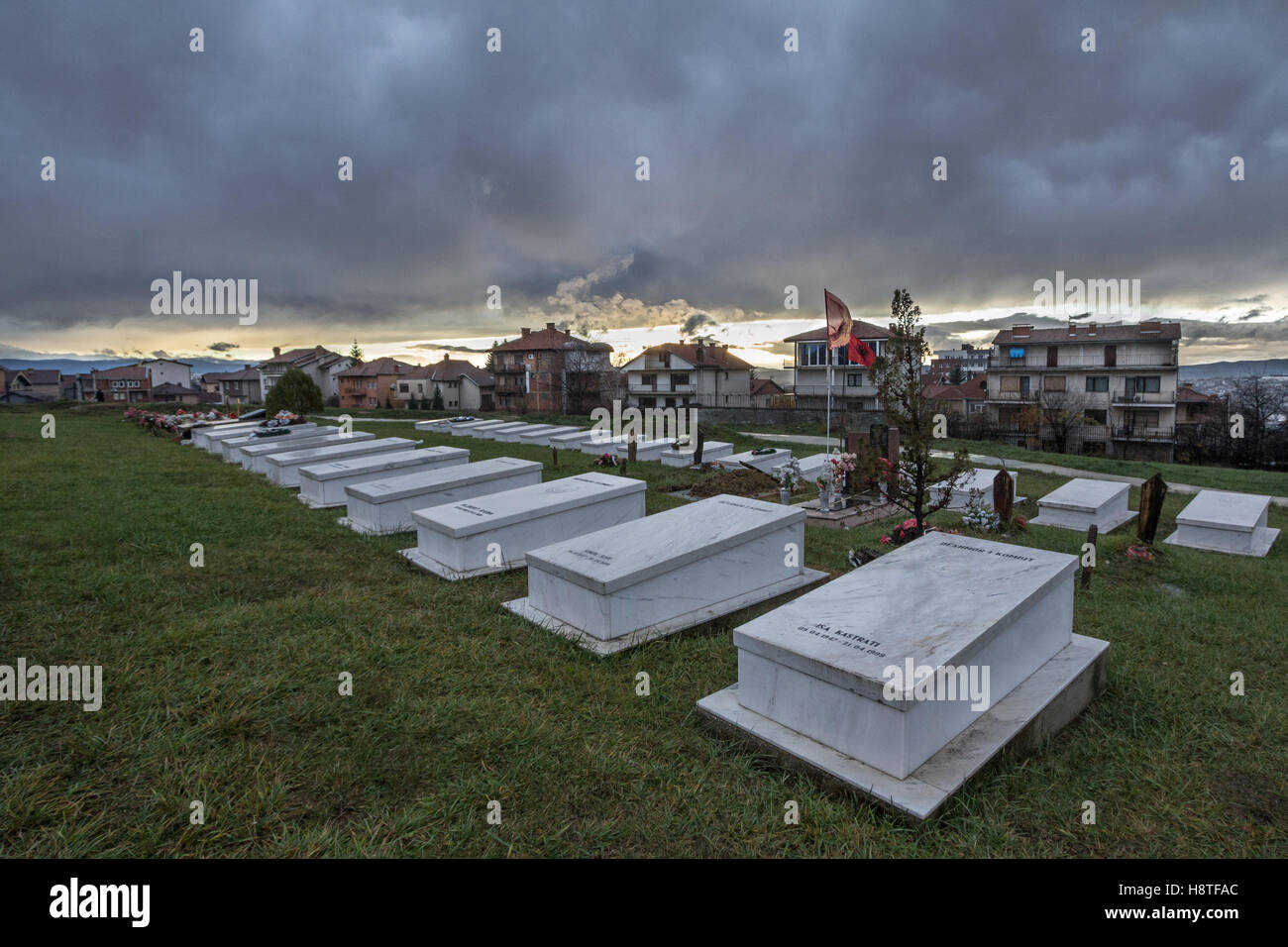 Graves of Kosovo Liberation Army (KLA, also known as UCK) fighters killed in the Kosovo conflict in 1999 in Pristina, Stock Photo