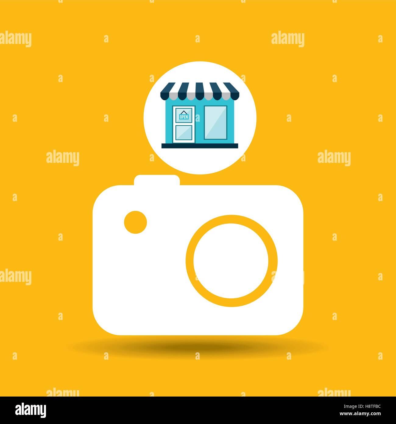e-commerce store building camera photographic design vector illustration eps 10 - Stock Vector