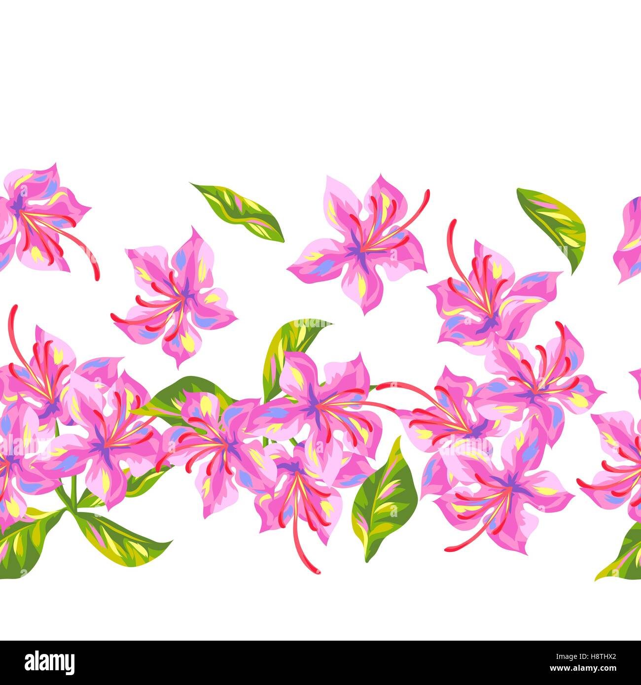 Seamless pattern with rhododendron flowers. Bright buds and leaves - Stock Vector