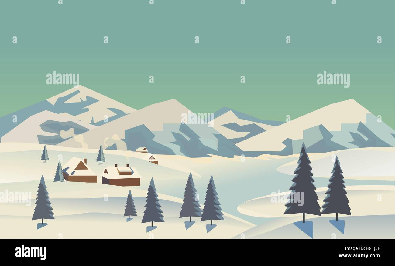 Winter nature landscape. Mountain river in snowy glacier valley. Houses on bank under snow. Lake view in hills pine - Stock Vector