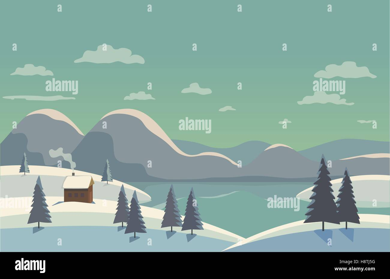 Winter nature landscape. Mountain river in snowy glacier valley. House on bank under snow. Lake view among hills - Stock Vector