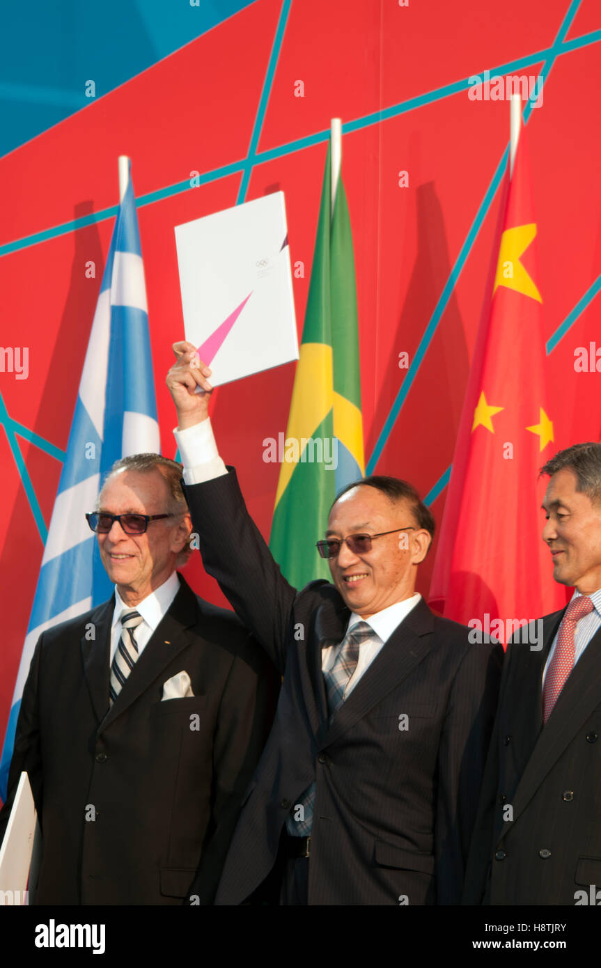 China accepting the invitation to compete in the Olympics, at One Year To Go ceremony for the Olympics on 27th July - Stock Image