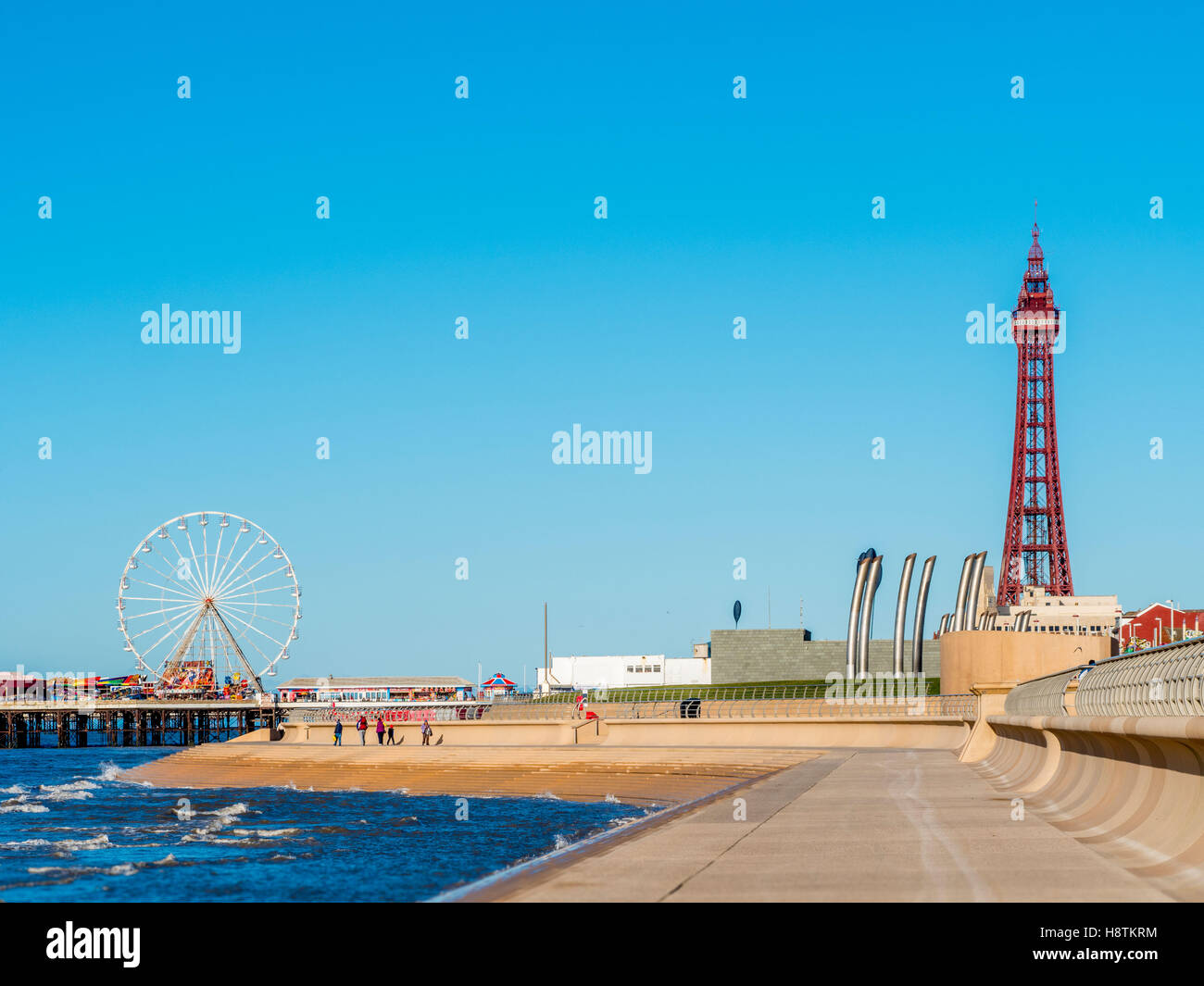 Blackpool Tower and Central Pier, Blackpool, Lancashire, UK. - Stock Image
