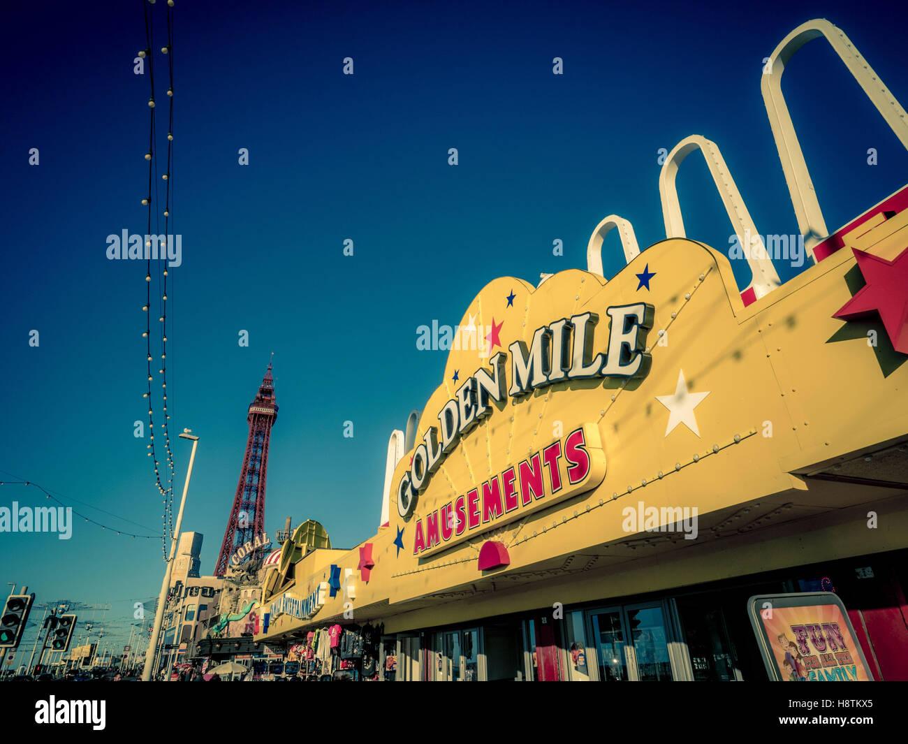 Golden Mile Amusement Arcade sign on seafront, Blackpool, Lancashire, UK. - Stock Image