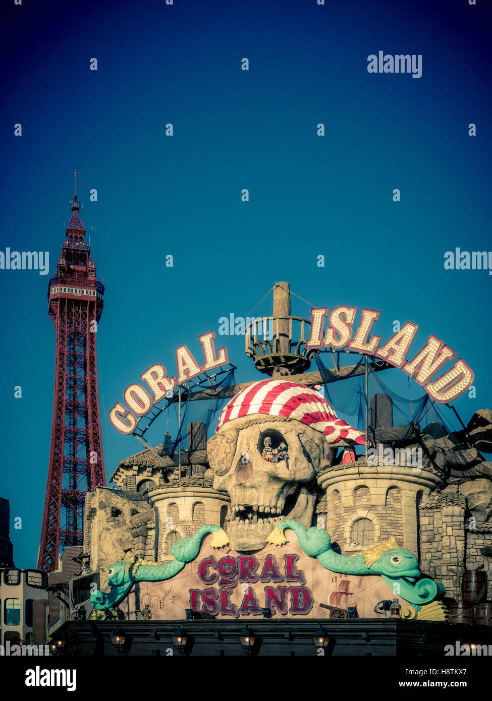 Coral Island Amusement Arcade sign on seafront, Blackpool, Lancashire, UK. - Stock Image