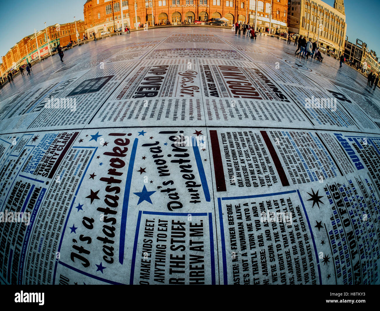 Comedy Carpet in front of Blackpool Tower, created by artist Gordon Young, and designed in collaboration with Why - Stock Image