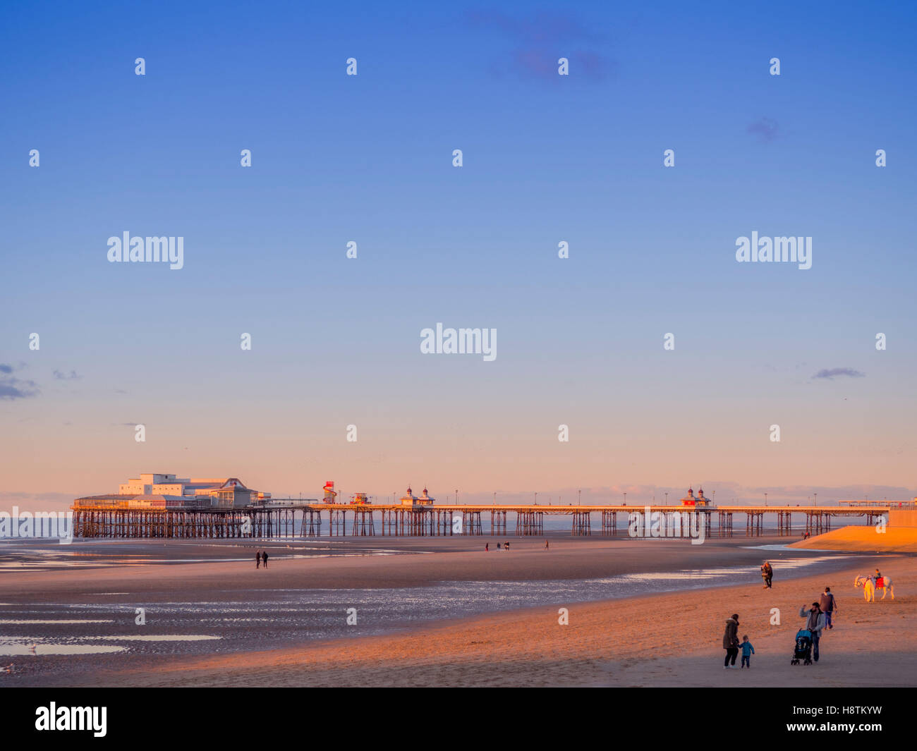 Central pier and beach, early evening, Blackpool, Lancashire, UK. - Stock Image