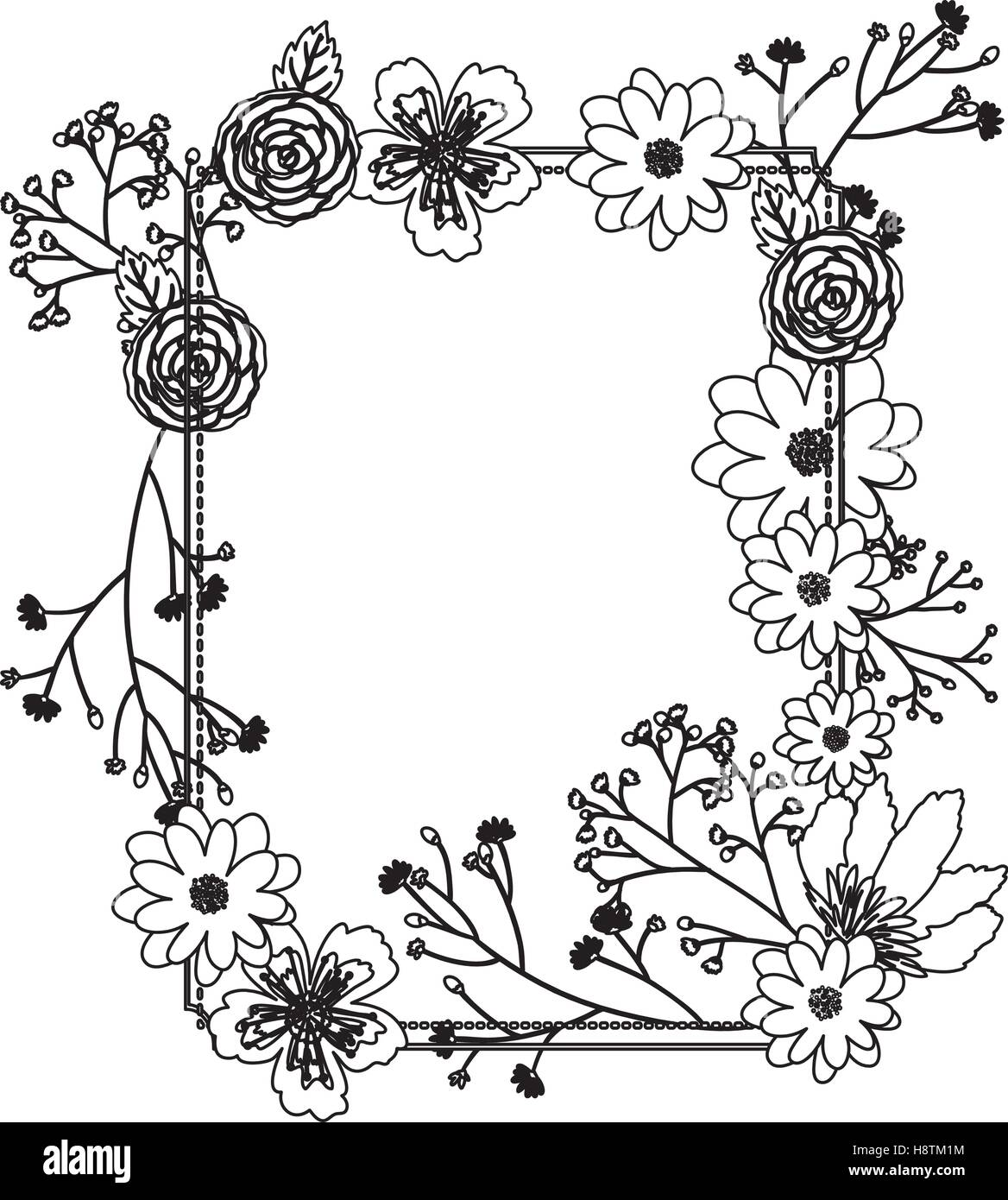 Flowers Frame Icon Decoration Rustic Garden Floral Nature Plant And Spring Theme Isolated Design Vector Illustration