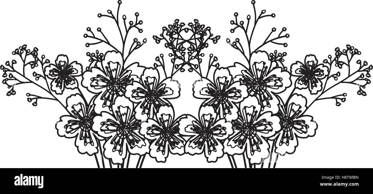 Flowers Icon Decoration Rustic Garden Floral Nature Plant And Spring Theme Isolated Silhouette Design Vector Illustration