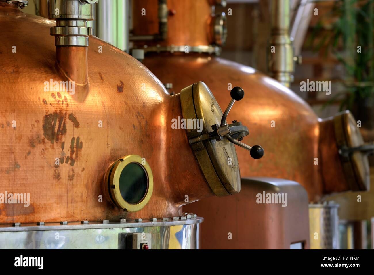Stills, distillery G. Miclo , Lapoutroie , Alsace, France - Stock Image