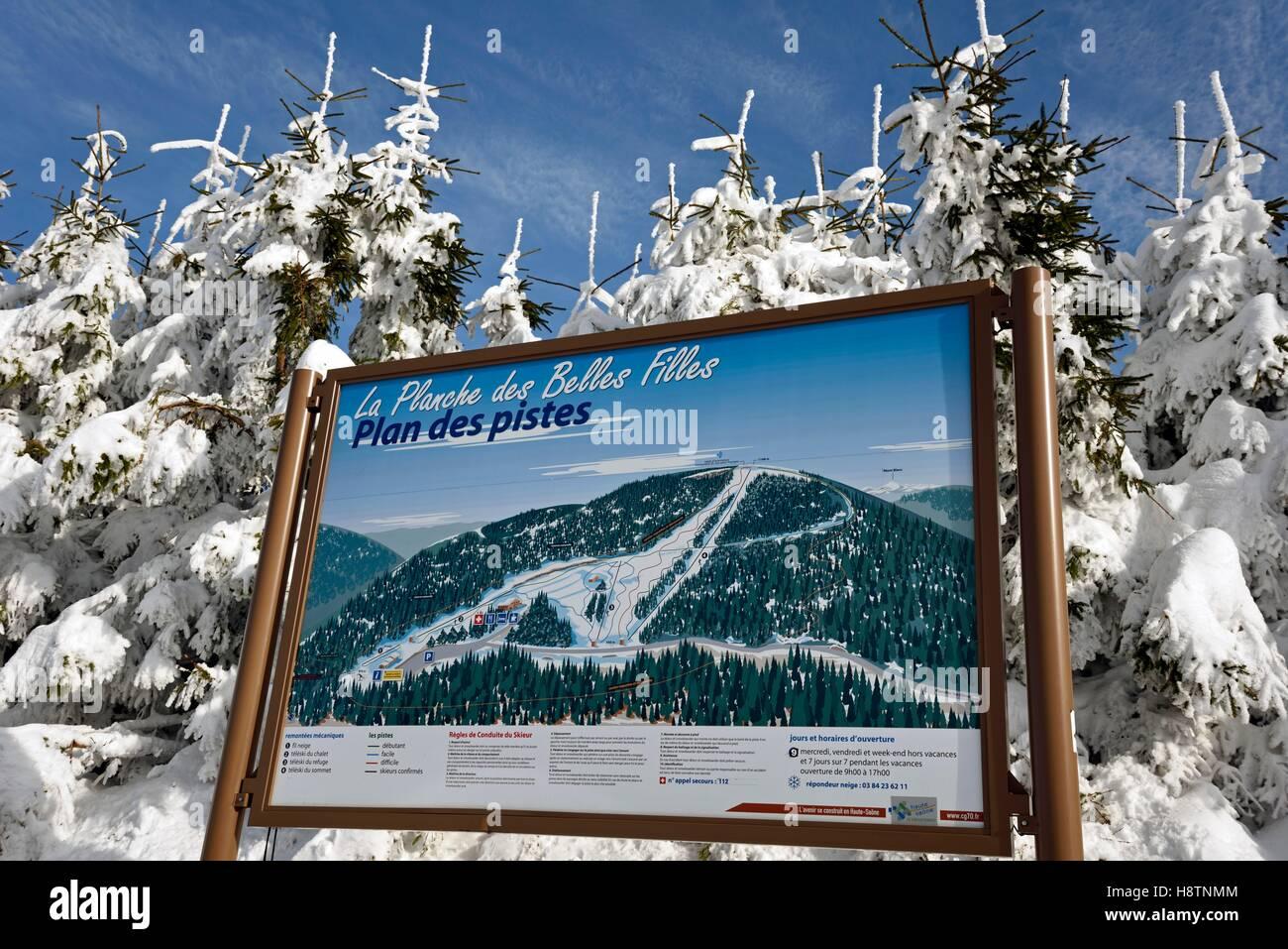 Map of ski slopes 'La Planche des Belles Filles ' in winter, the town of Mines Floor , Massif des Vosges, - Stock Image