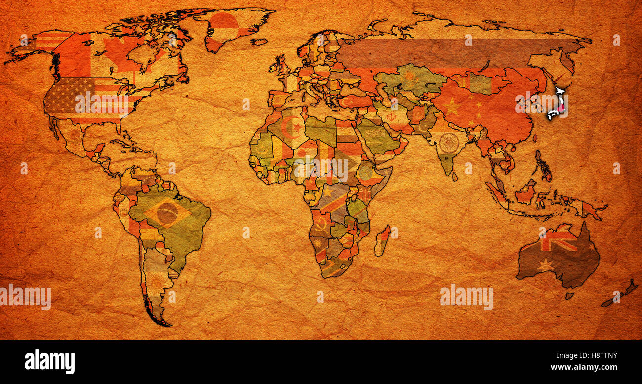 Old political map of world with flag of japan stock photo 125936103 old political map of world with flag of japan gumiabroncs Images