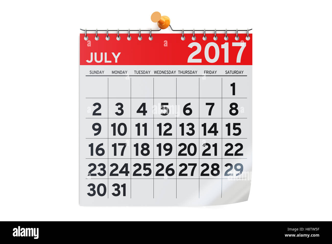 July 2017 calendar, 3D rendering isolated on white