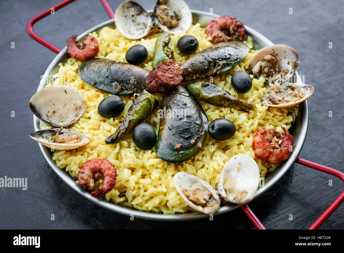 mixed seafood and rice paella famous traditional portuguese and spanish rice paella - Stock Image