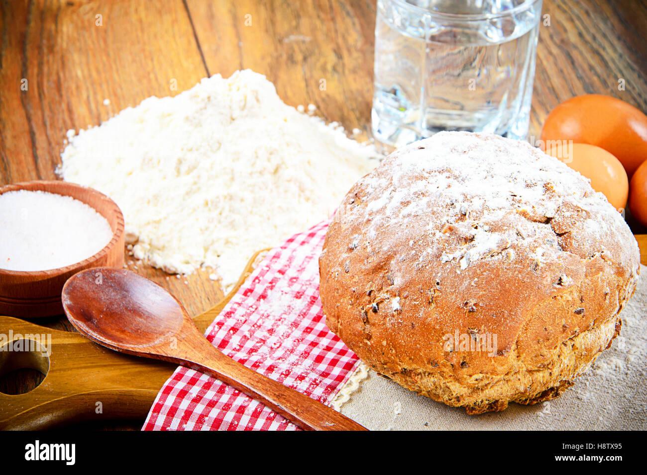Bread Flour Egg Water Baking Stock Photo Alamy
