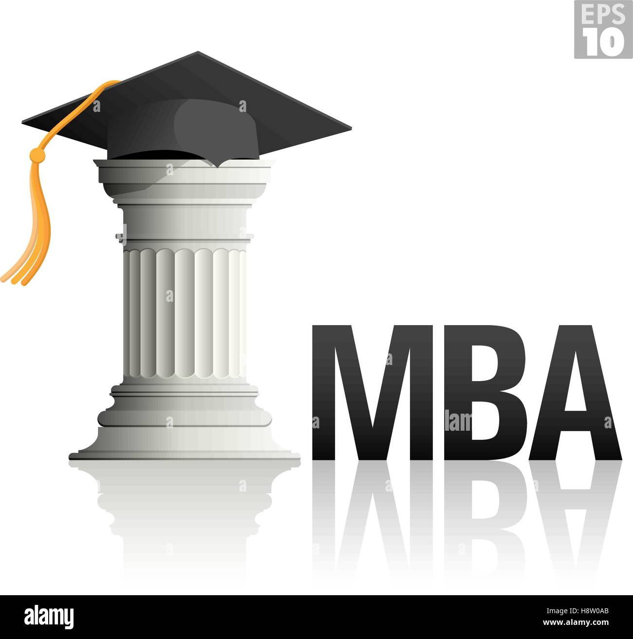 4279c1552d0 MBA Education with a greek column and a graduation hat Stock Vector ...
