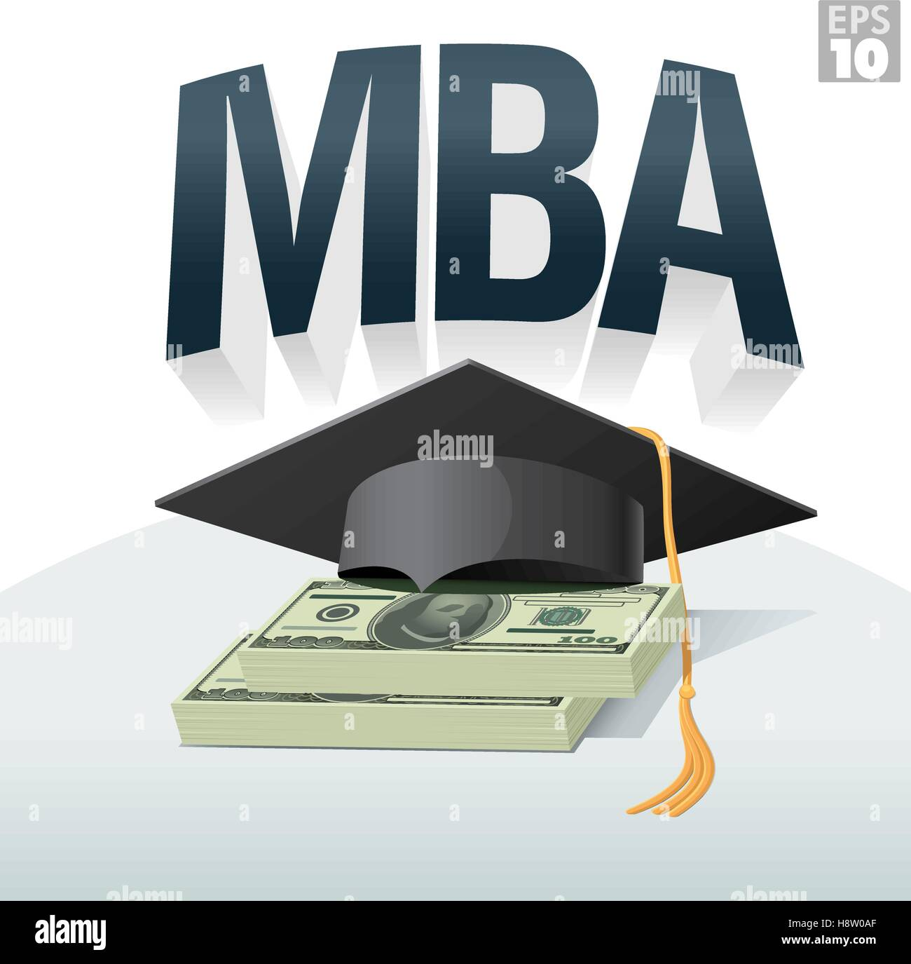 MBA degree cost or tuition with graduation cap and stack of hundred dollar bills - Stock Vector