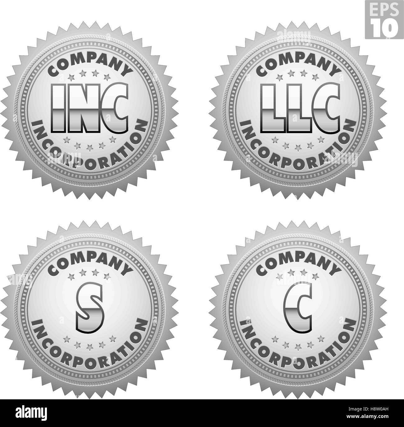 Silver Or Platinum Burst Certificate Labels For Incorporation Llc