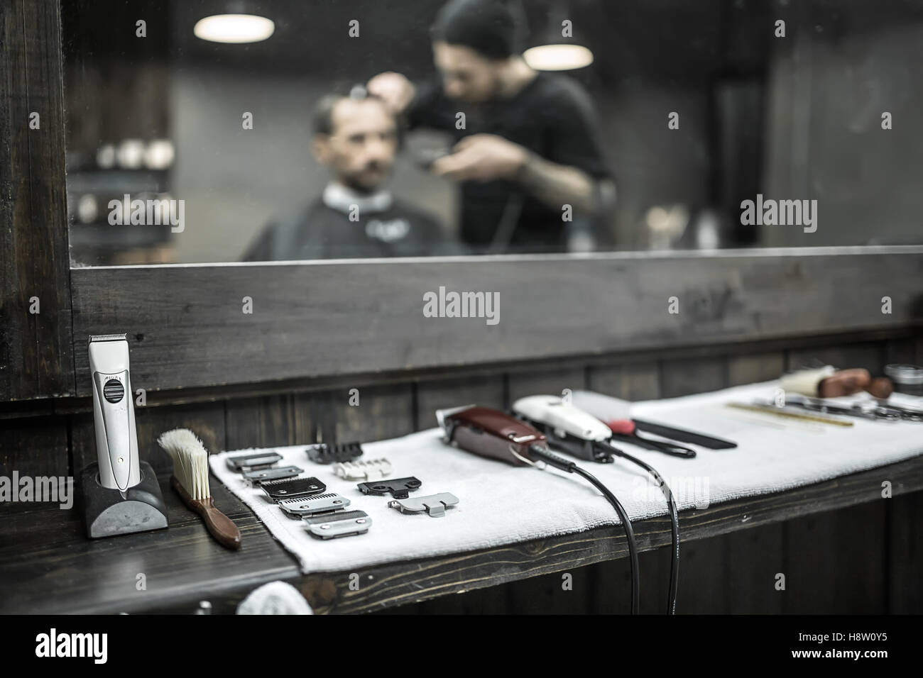 Accessories of hairdresser in barbershop - Stock Image