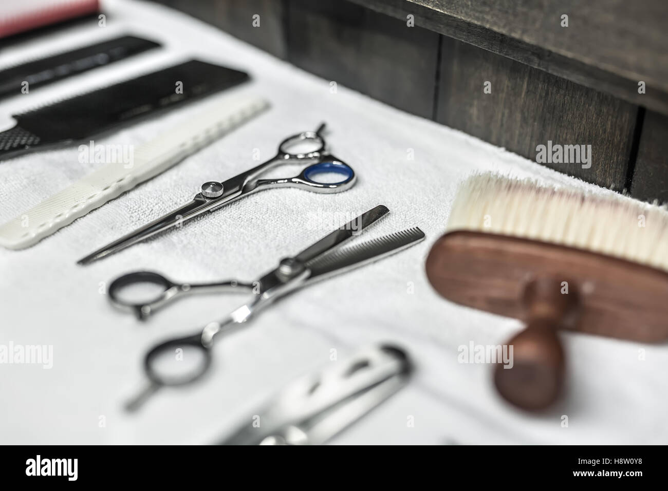 Hairdresser accessories in barbershop - Stock Image