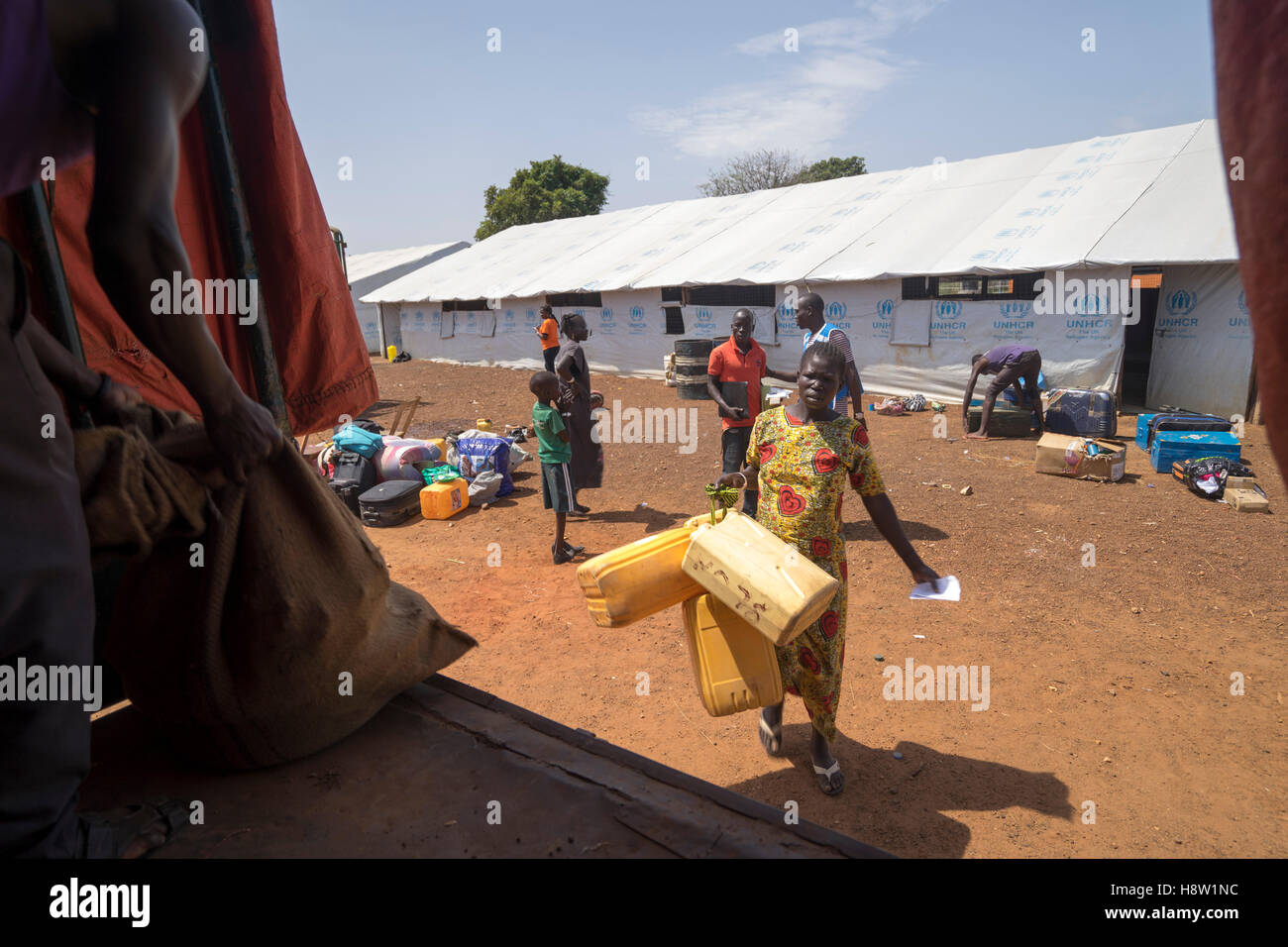 On the South Sudan - Uganda boarders. Luggage from South Sudan refugees loaded on a UNHCR truck, heading to a refugee - Stock Image