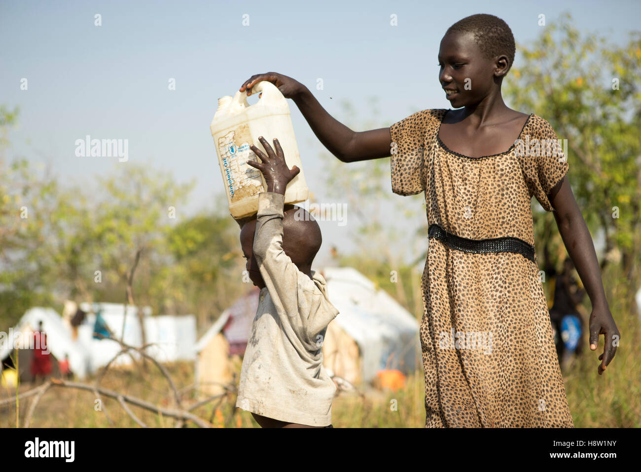 Agogo, UNHCR camps for refugees from South-Sudan, located 5 km from the town of Adjumani in North-Uganda. Nov, 2016. - Stock Image