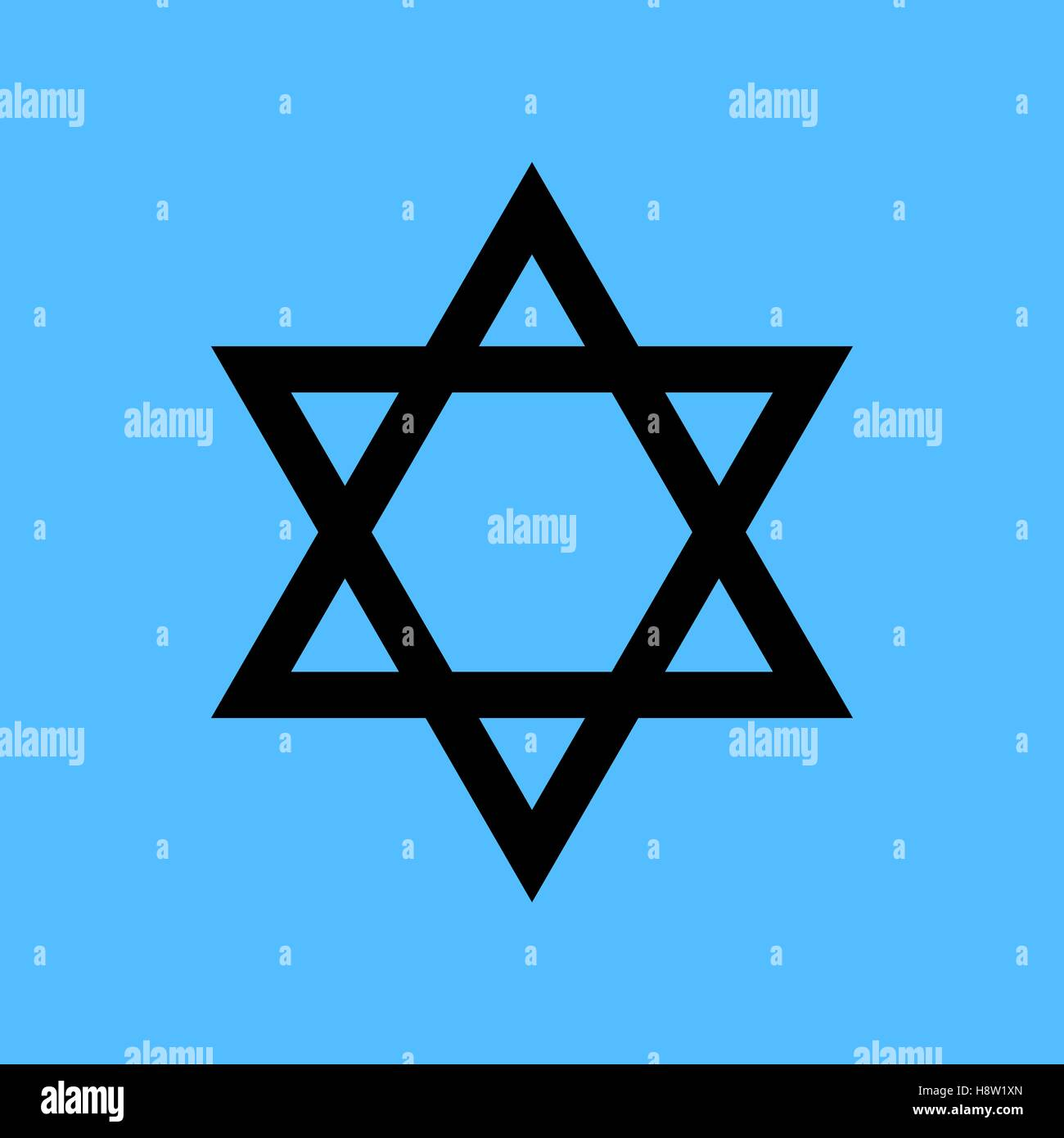 Black star of David icon vector. Blue background - Stock Vector