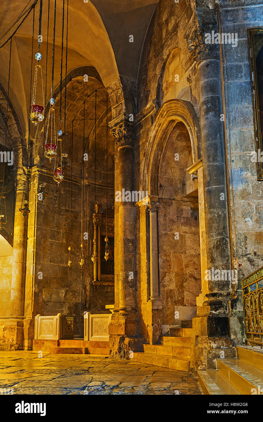 The St Longinus Chapel in Church of the Holy Sepulchre - Stock Image