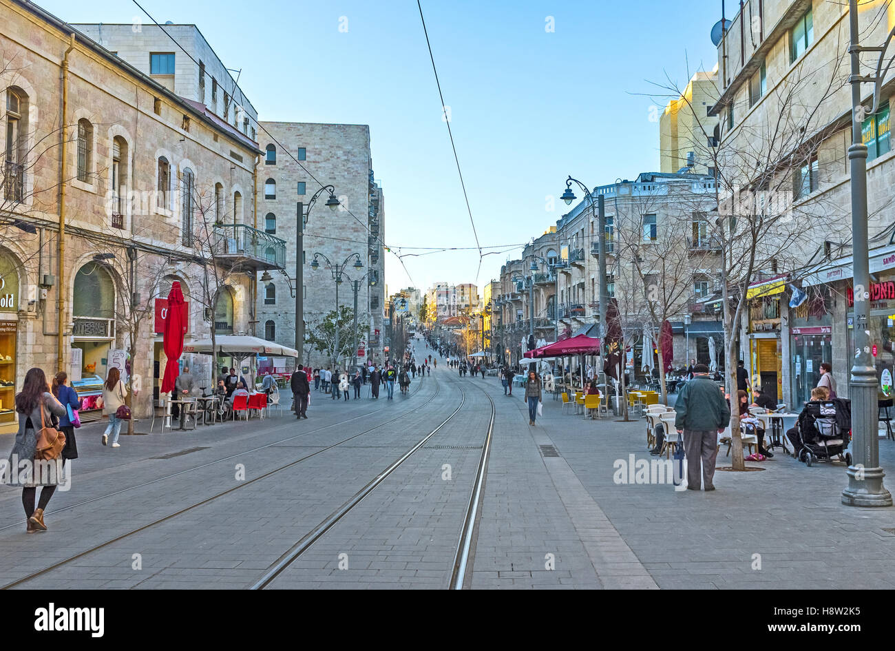 Jaffa Road is one of the major shopping streets in city - Stock Image