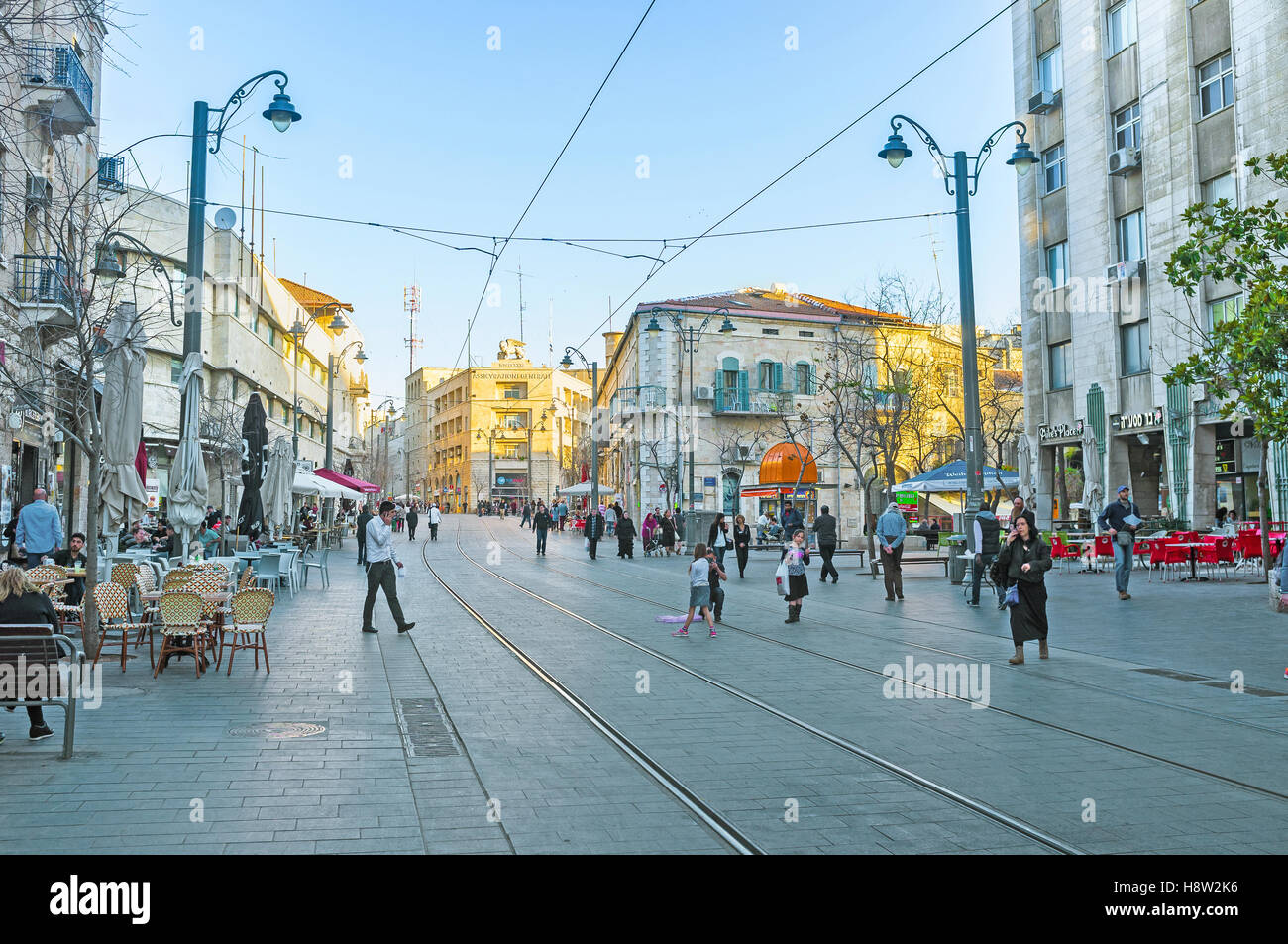 Jaffa Road is the best place to relax in cafe or have some shopping - Stock Image