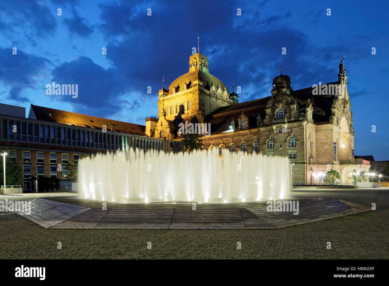 Hexagonal Water Pavilion designed by Jeppe Hein, Opera House, State Theatre, Nuremberg, Middle Franconia, Franconia, - Stock Image
