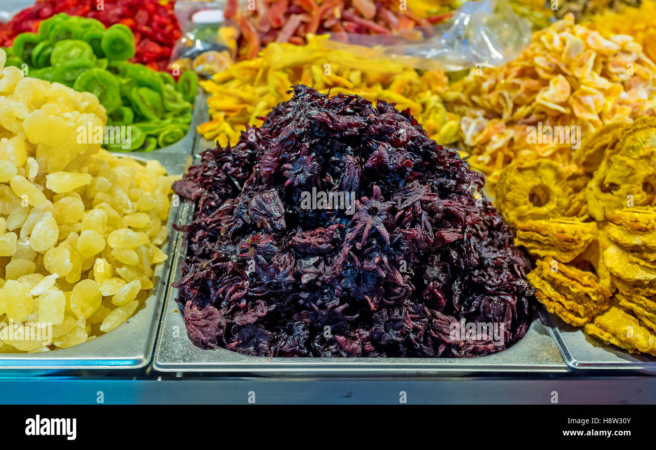 The Candied Hibiscus Flowers And Dried Fruits In The Stall Of Mahane