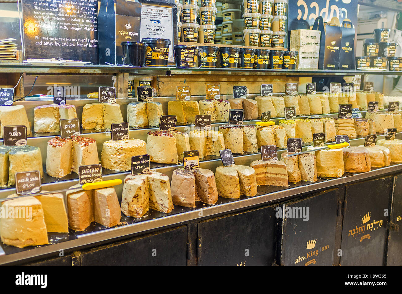 The various types of halva, the famous Eastern dessert, in Mahane Yehuda market - Stock Image