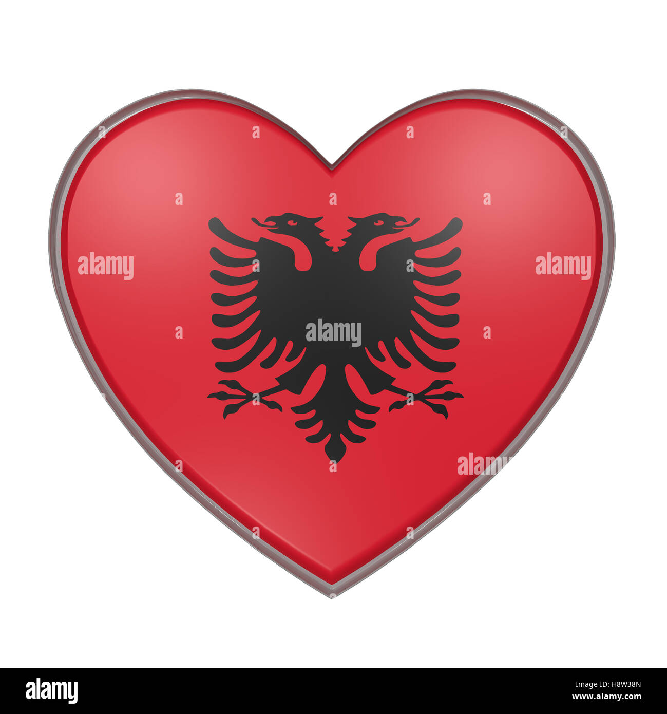 3d rendering of an Albania flag on a heart. White background - Stock Image