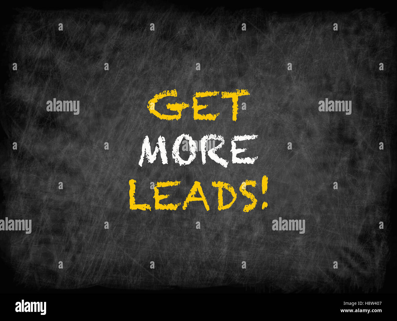 Get more leads! - text on chalkboard - Stock Image