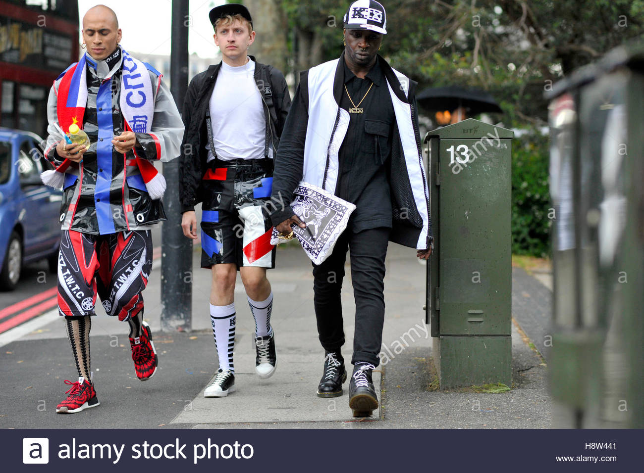 f17a9c57 Men wearing urban streetwear arriving on Blackfriars Road for London  Collections Men London Fashion Week, SS17, London, 2016.