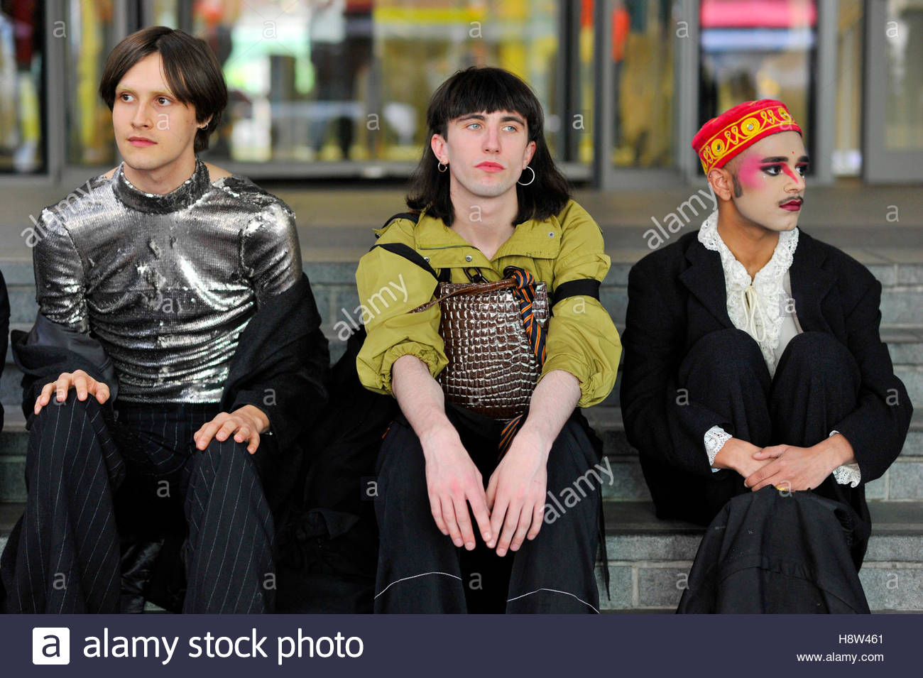 Models at  London Collections Men, Fashion Week, SS17, on Marylebone Road, London, England, 2016. - Stock Image