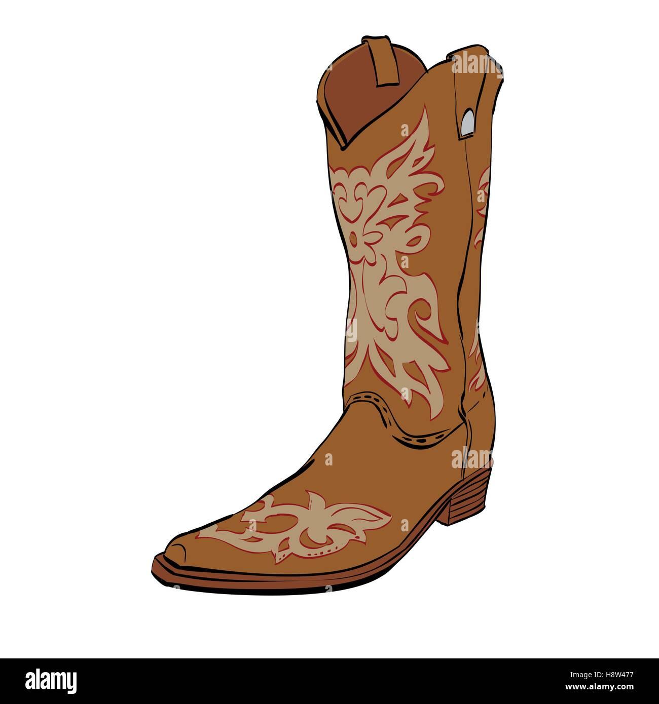 54d1ed6e57e Leather cowboy boots Stock Vector Art & Illustration, Vector Image ...