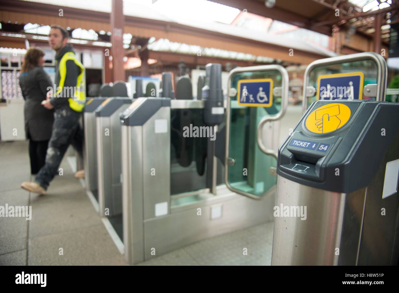 Ticket barriers Northern rail station Oxford Road Manchester - Stock Image