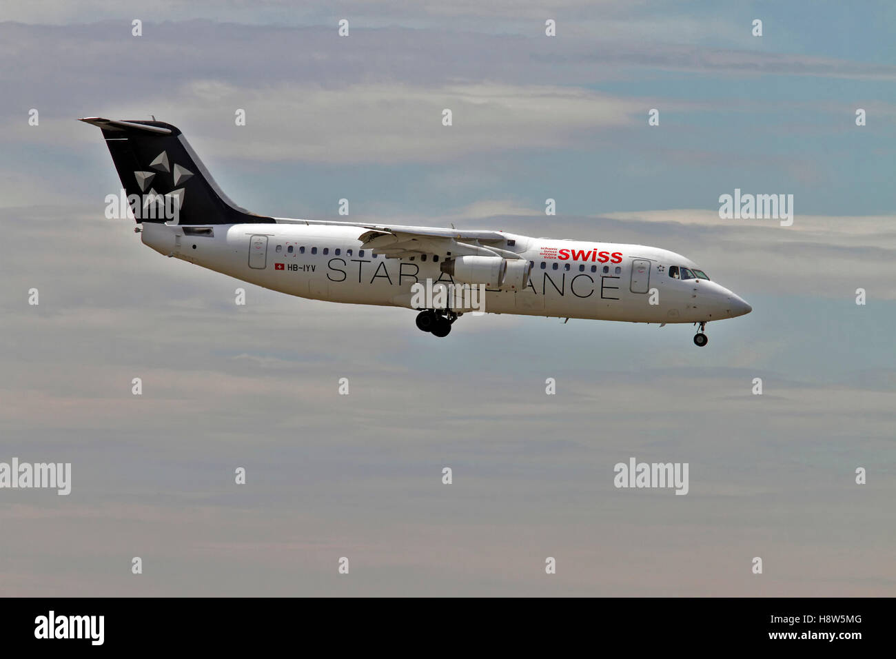 Swiss Global Air Lines British Aerospace Avro RJ100 at Milan - Malpensa (MXP / LIMC) Italy Stock Photo