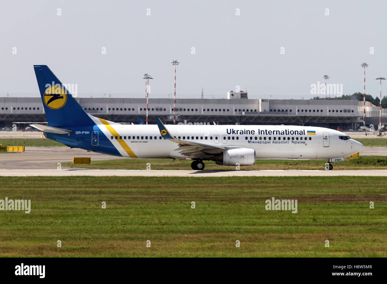 Ukraine International Airlines Boeing 737 Next Gen, at Milan - Malpensa (MXP / LIMC) Italy - Stock Image