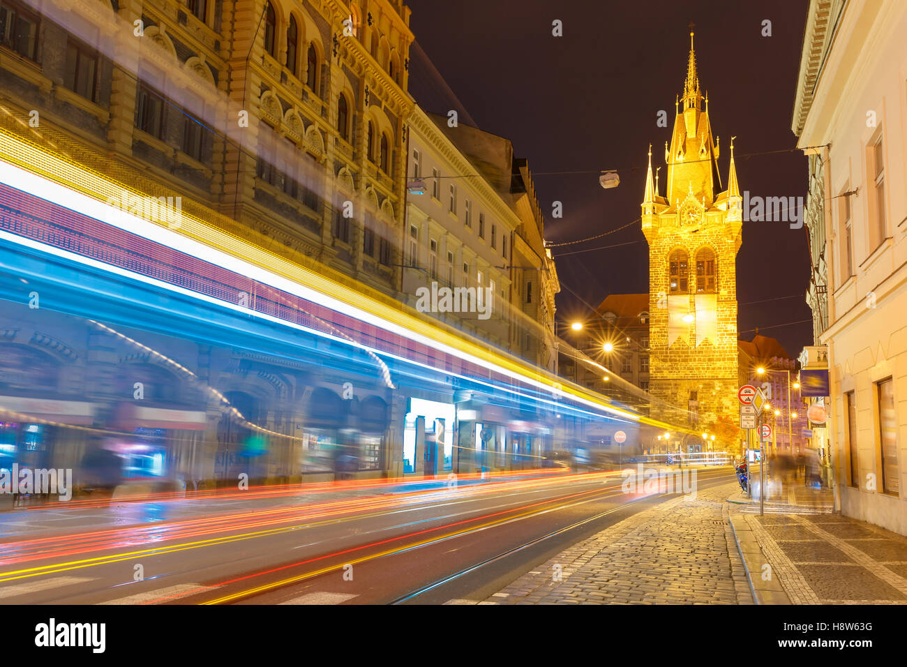 Luminous track from the tram in Prague, Czech - Stock Image