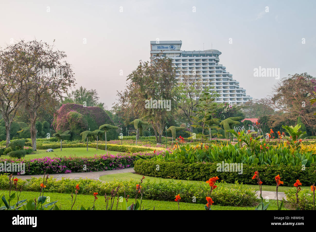 The garden of the historic Railway Hotel in Hua Hin Thailand currently known as Centara Grand Beach resort & - Stock Image