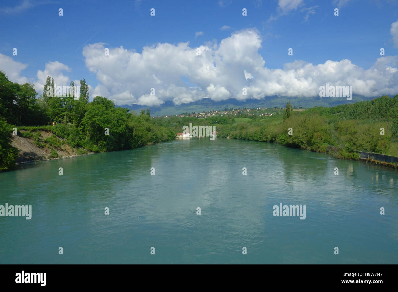 Rhone river in Switzerland flowing south to France. - Stock Image