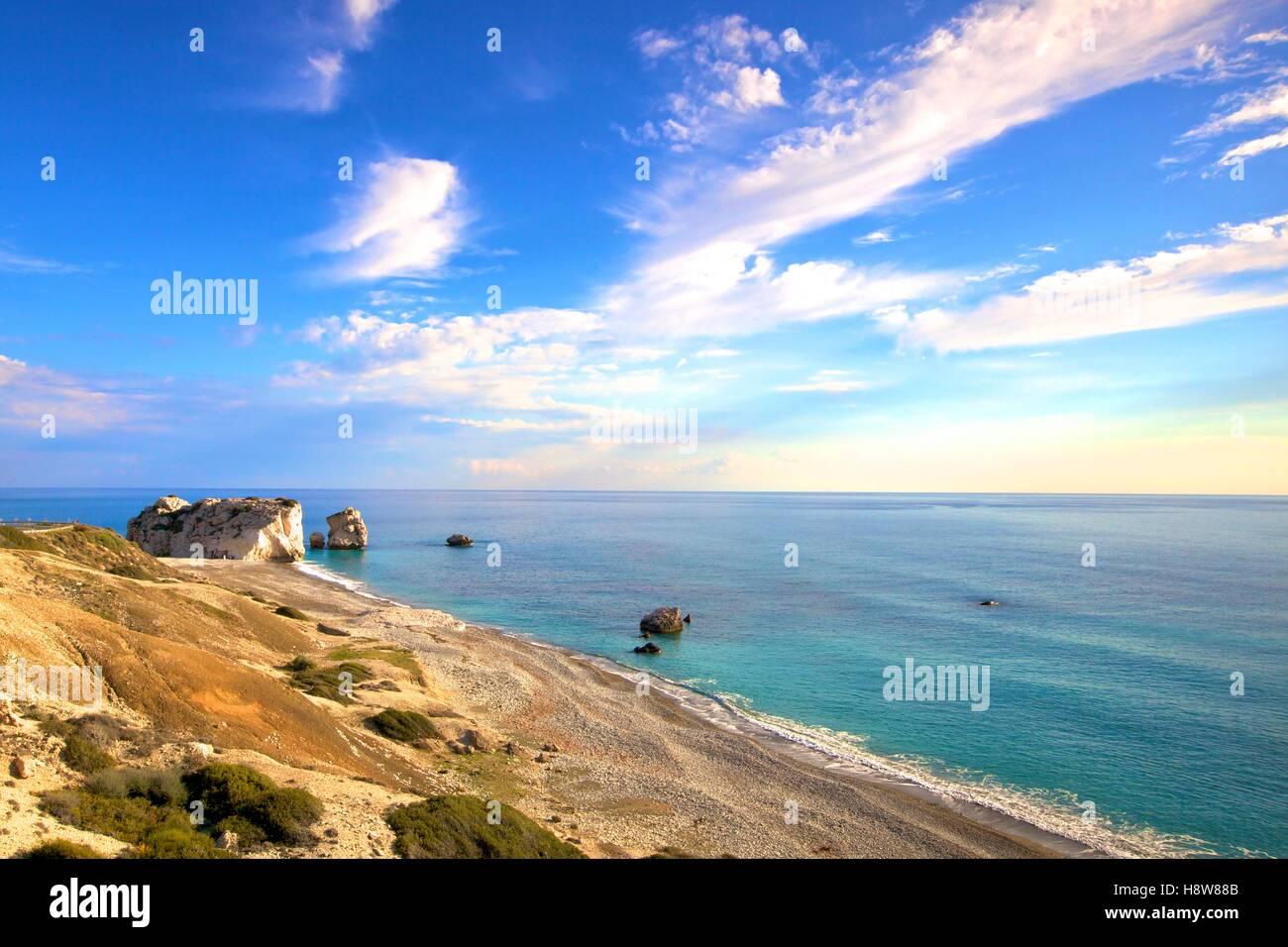 Aphrodite's Rock, Paphos, Cyprus, Eastern Mediterranean Sea - Stock Image