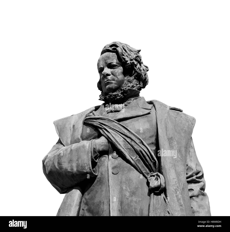 Daniele Manin, italian and venetian patriot during the revolt against Austrian empire in 1848. Bronze statue erected - Stock Image