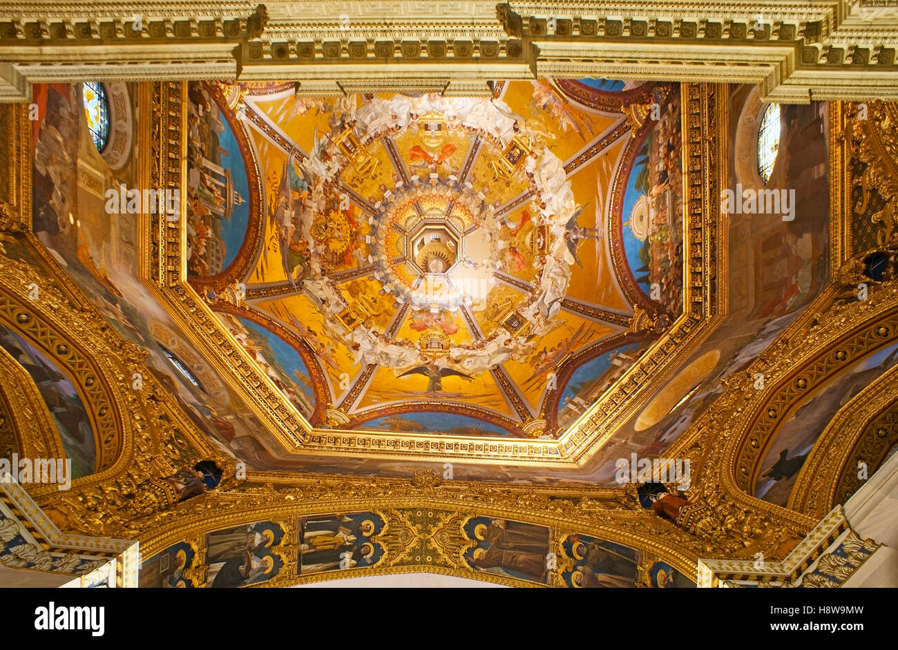 The painted cupola of Basilica of Santa Casa, the famous Shrine of the Holy House of Virgin Mary - Stock Image