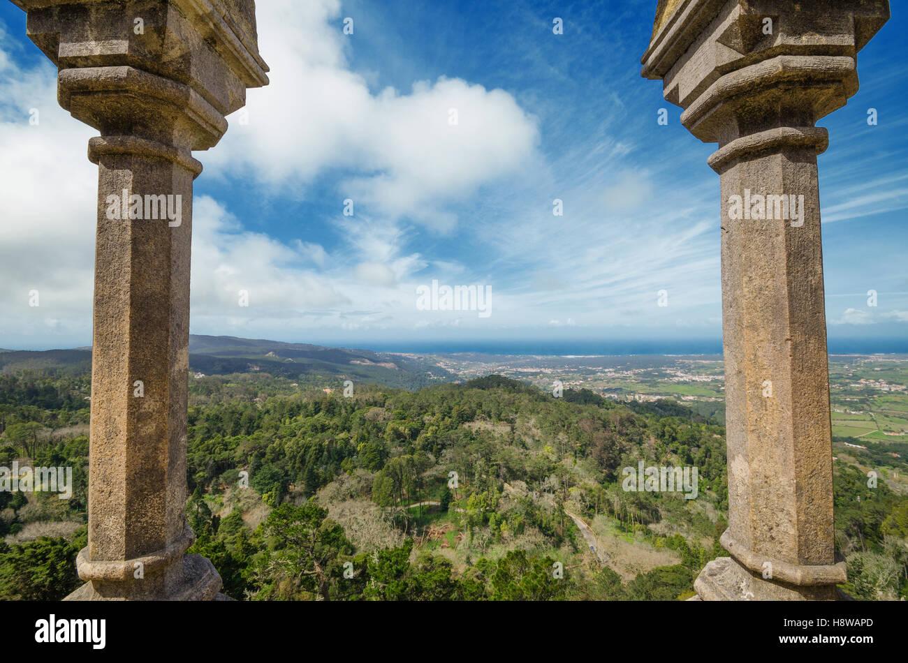 Viewpoint in Castle da Pena in Sintra, Portugal. - Stock Image